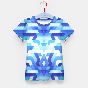 Miniature de image de Abstract geometric triangle pattern (futuristic future symmetry) in ice blue Kid's T-shirt, Live Heroes