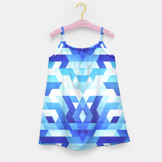 Miniaturka Abstract geometric triangle pattern (futuristic future symmetry) in ice blue Girl's Dress, Live Heroes
