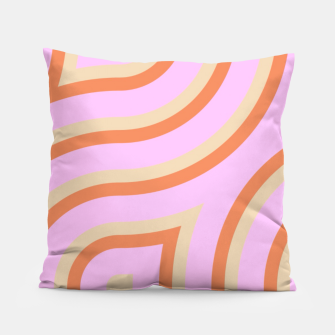 Pink and orange line art Pillow thumbnail image