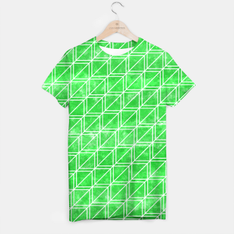 Thumbnail image of Green watercolor geometric pattern T-shirt, Live Heroes