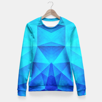 Miniature de image de Abstract Polygon Multi Color Cubizm Painting in ice blue Fitted Waist Sweater, Live Heroes
