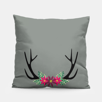 Thumbnail image of Elk Antlers with Flowers Pillow, Live Heroes