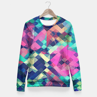 Miniature de image de Fruity Rose - Fancy Colorful Abstraction Pattern Design (green pink blue) Fitted Waist Sweater, Live Heroes