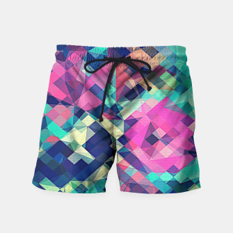 Miniature de image de Fruity Rose - Fancy Colorful Abstraction Pattern Design (green pink blue) Swim Shorts, Live Heroes