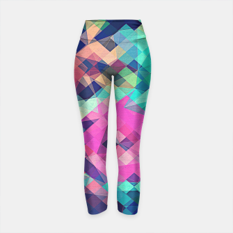 Thumbnail image of Fruity Rose - Fancy Colorful Abstraction Pattern Design (green pink blue) Yoga Pants, Live Heroes