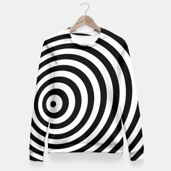 Miniature de image de Modern Black & White Geometric Optical Illusion Fitted Waist Sweater, Live Heroes