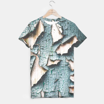 Rustic old light blue green peeling paint T-shirt thumbnail image