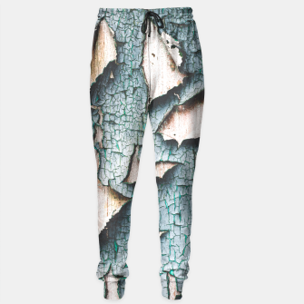 Rustic old light blue green peeling paint Sweatpants thumbnail image