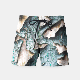 Rustic old light blue green peeling paint Swim Shorts thumbnail image