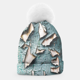 Rustic old light blue green peeling paint Beanie thumbnail image