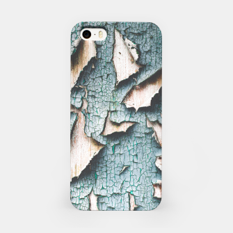 Rustic old light blue green peeling paint iPhone Case thumbnail image