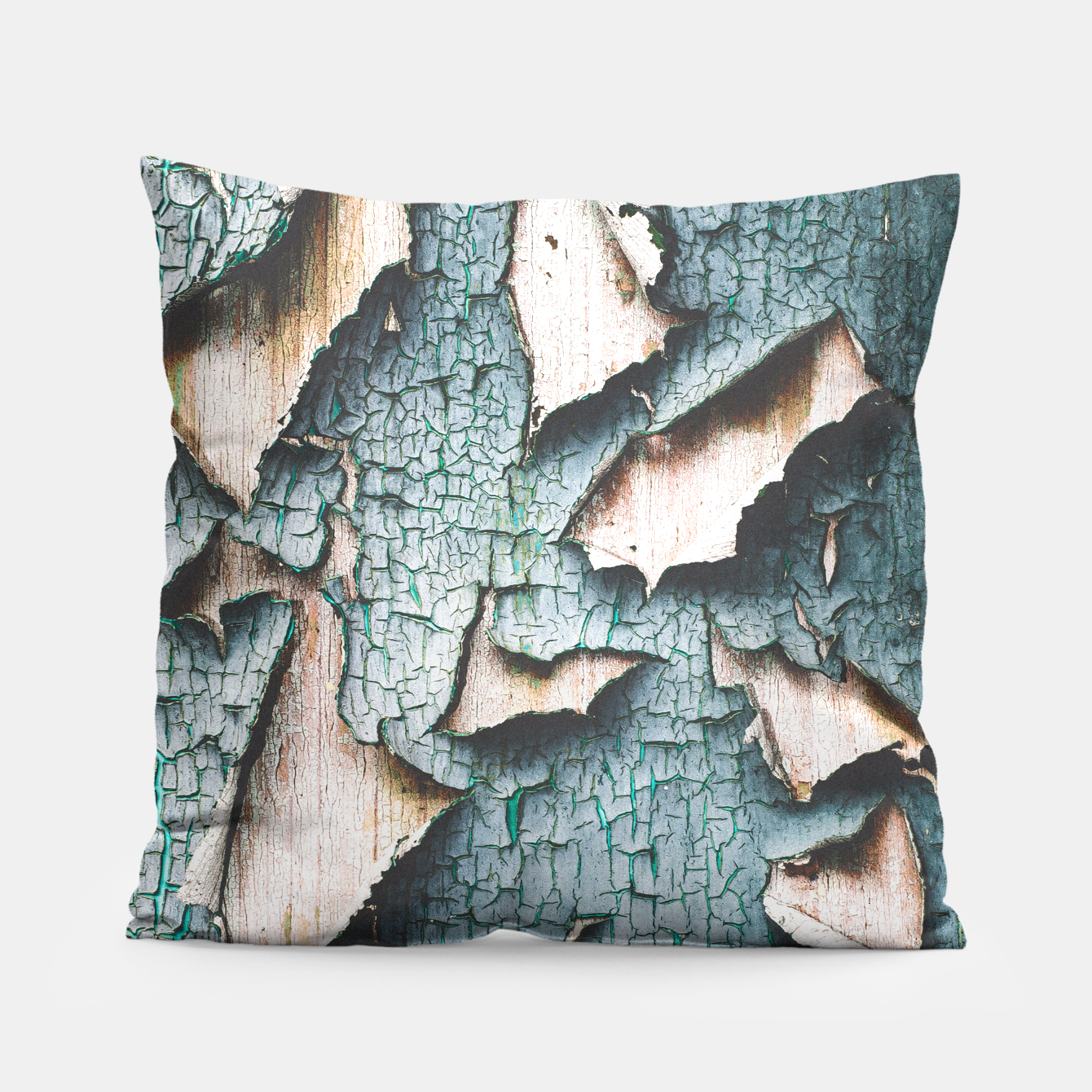Image of Rustic old light blue green peeling paint Pillow - Live Heroes