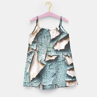 Rustic old light blue green peeling paint Girl's Dress thumbnail image