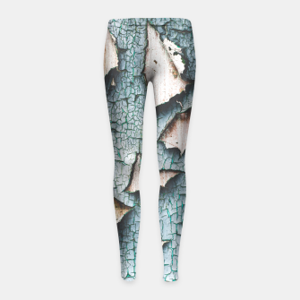 Rustic old light blue green peeling paint Girl's Leggings thumbnail image