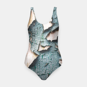 Rustic old light blue green peeling paint Swimsuit thumbnail image