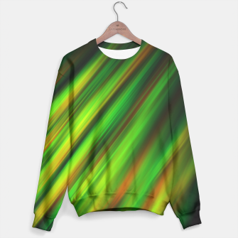 Colorful neon green brush strokes on dark gray Sweater thumbnail image