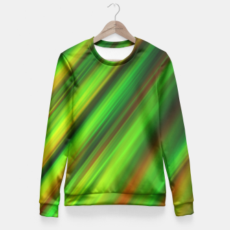 Colorful neon green brush strokes on dark gray Fitted Waist Sweater thumbnail image