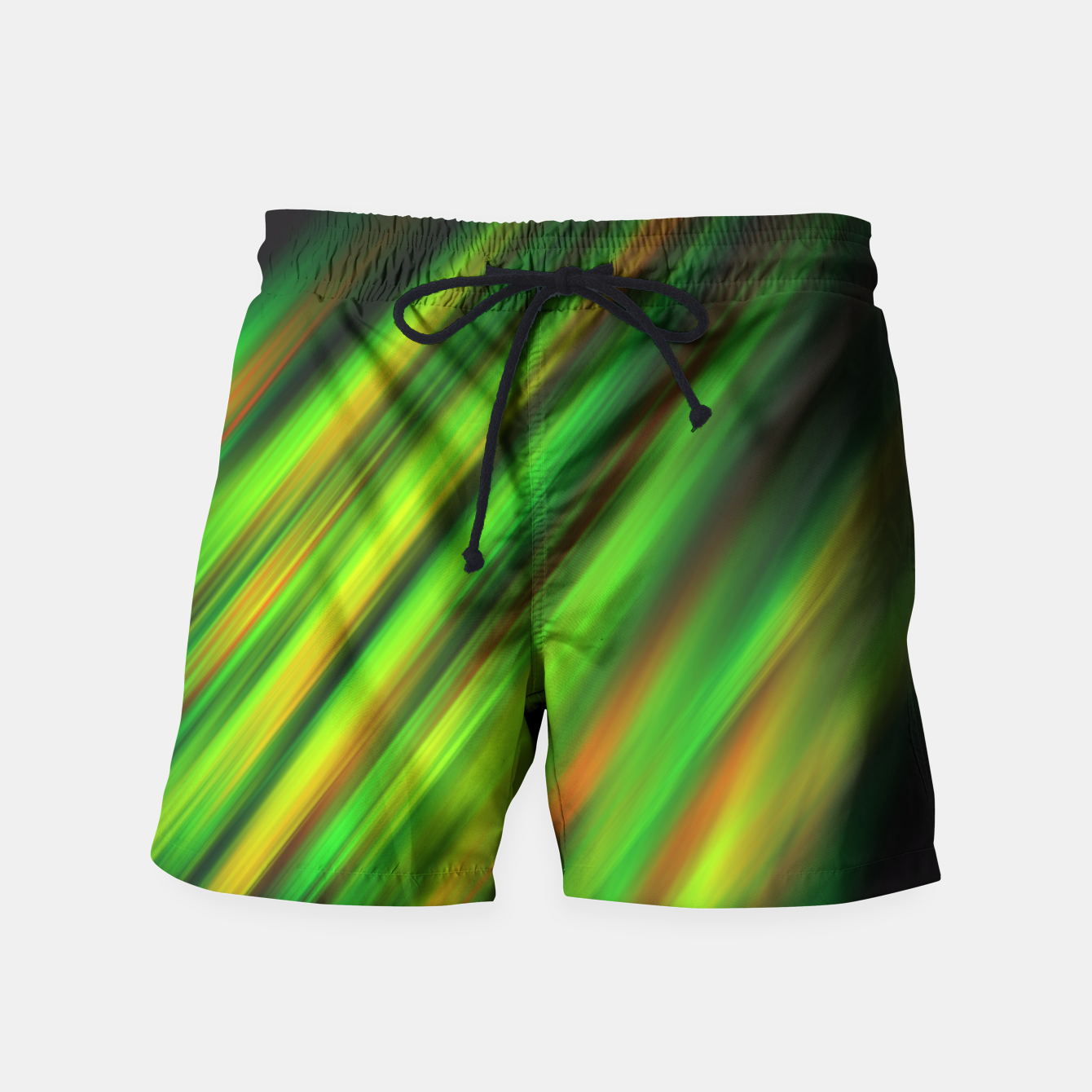 Image of Colorful neon green brush strokes on dark gray Swim Shorts - Live Heroes