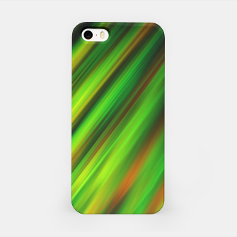 Colorful neon green brush strokes on dark gray iPhone Case thumbnail image