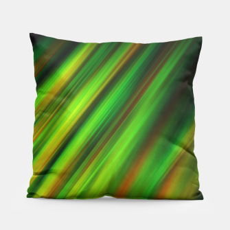 Colorful neon green brush strokes on dark gray Pillow thumbnail image