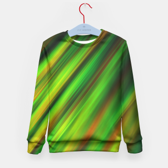 Colorful neon green brush strokes on dark gray Kid's Sweater thumbnail image
