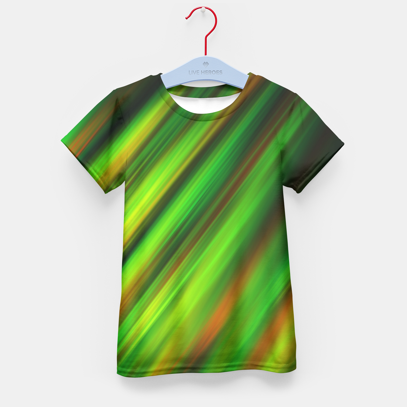 Image of Colorful neon green brush strokes on dark gray Kid's T-shirt - Live Heroes