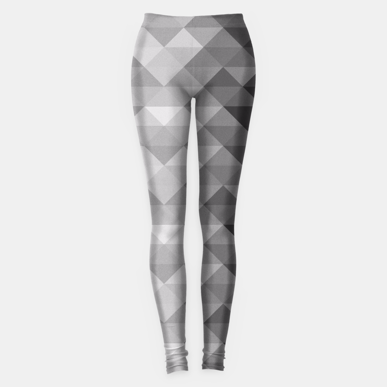 Image of Grayscale triangle geometric squares pattern Leggings - Live Heroes