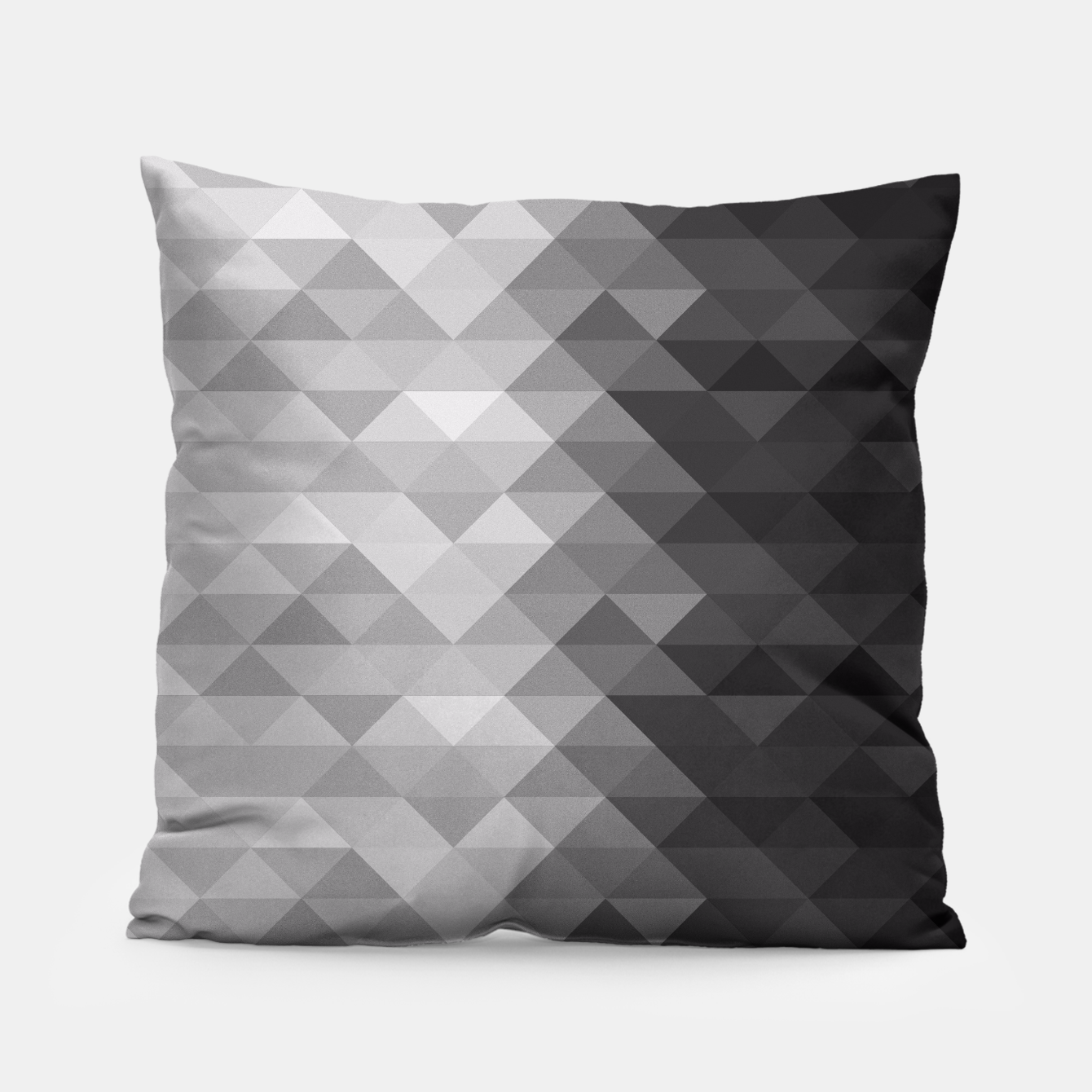 Image of Grayscale triangle geometric squares pattern Pillow - Live Heroes