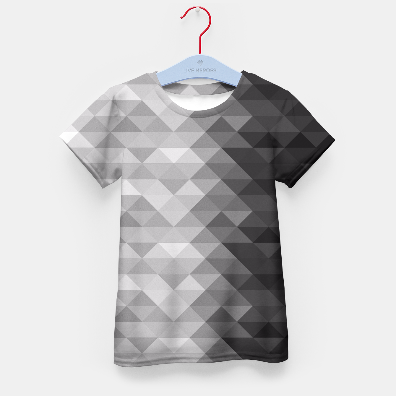 Image of Grayscale triangle geometric squares pattern Kid's T-shirt - Live Heroes