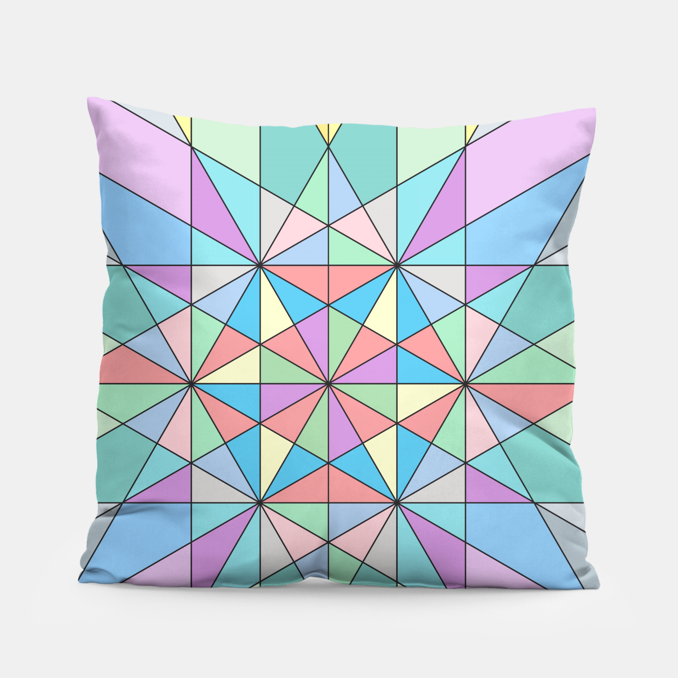 Image of Colorful Pastel Mosaic Triangle Star Pillow - Live Heroes