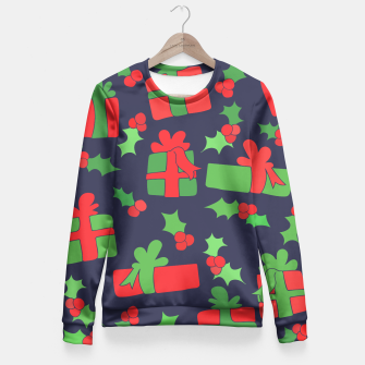 Miniatur Christmas Gifts and Holly Fitted Waist Sweater, Live Heroes
