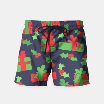 Miniatur Christmas Gifts and Holly Swim Shorts, Live Heroes