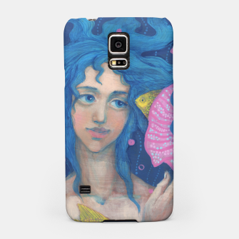 """Thumbnail image of """"Listening to the Sea"""" cute little mermaid with blue hair & pink seashell Samsung Case, Live Heroes"""
