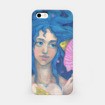 """Thumbnail image of """"Listening to the Sea"""" cute little mermaid with blue hair & pink seashell iPhone Case, Live Heroes"""
