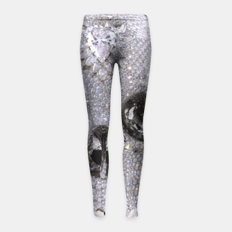 Thumbnail image of diamond skull Girl's Leggings, Live Heroes