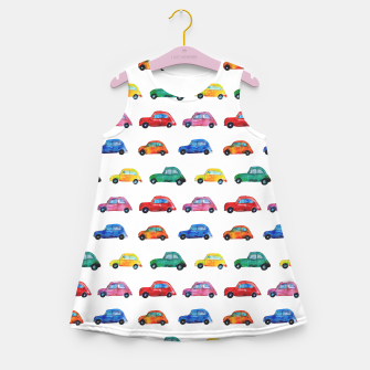 Miniaturka Italian watercolor cars Girl's Summer Dress, Live Heroes