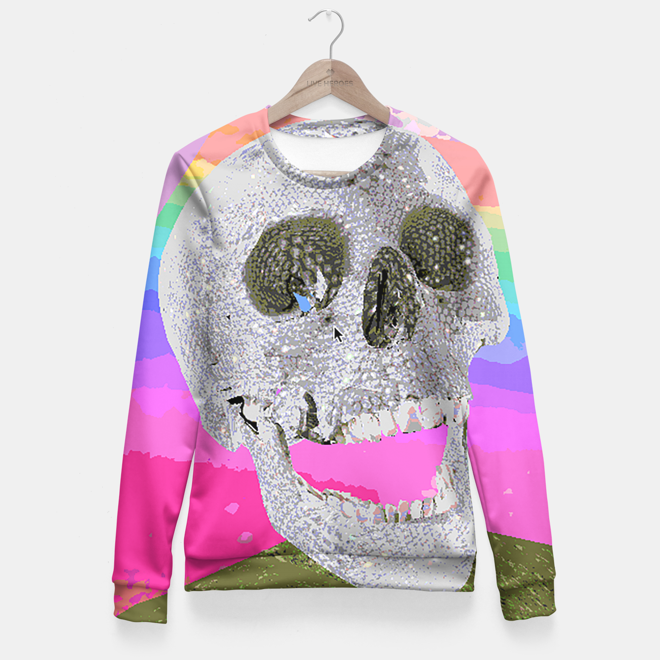Image of skull chomp Fitted Waist Sweater - Live Heroes