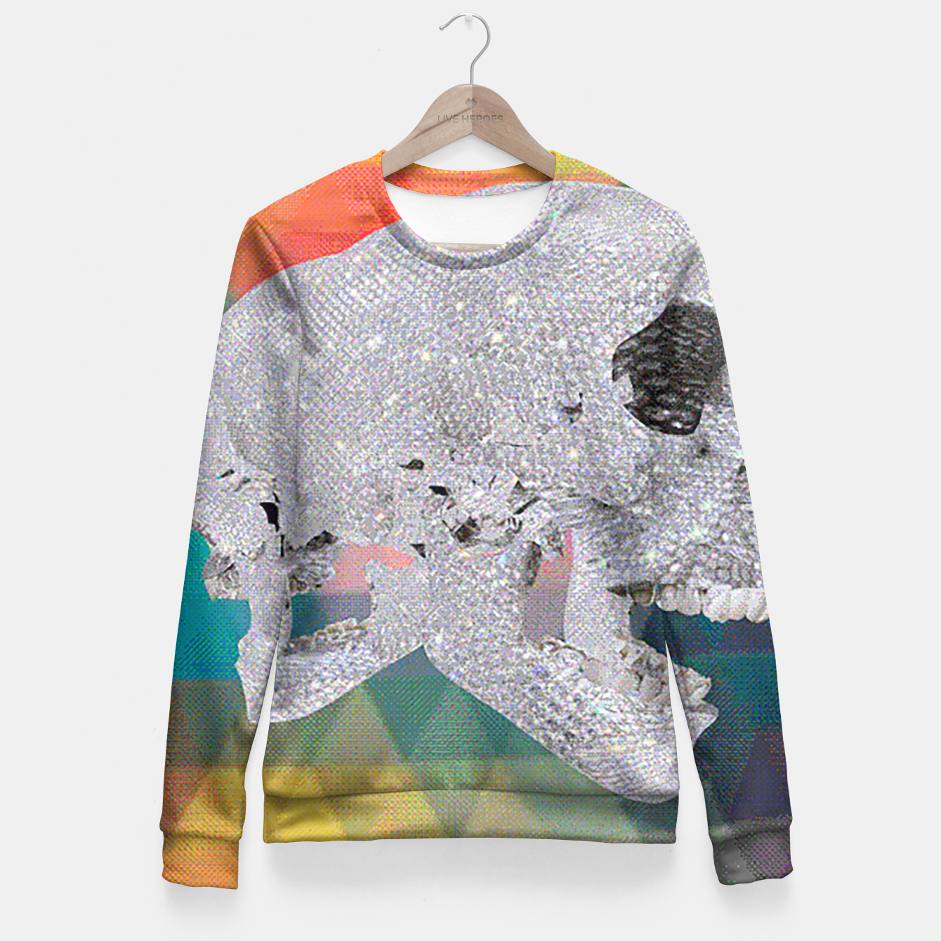Image of diamond skull chomp Fitted Waist Sweater - Live Heroes