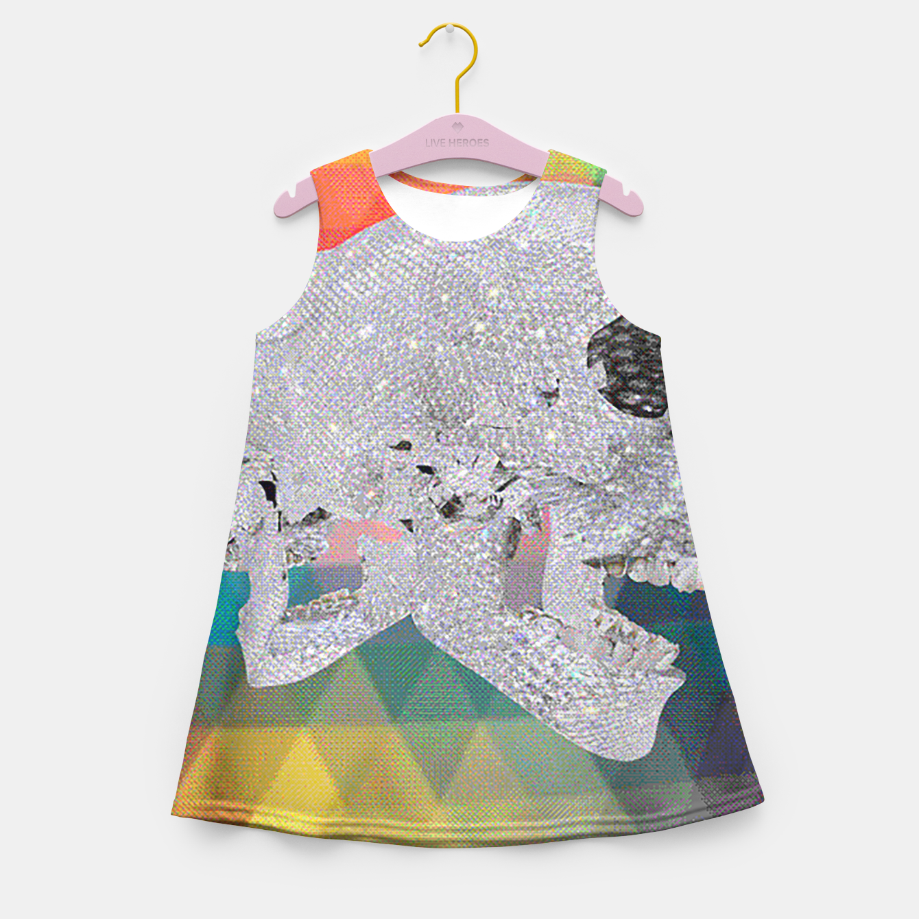 Image of diamond skull chomp Girl's Summer Dress - Live Heroes