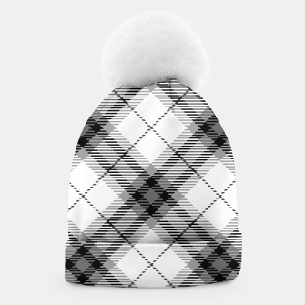 Thumbnail image of Black and White Plaid Beanie, Live Heroes