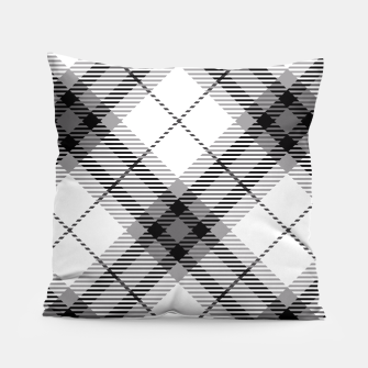 Thumbnail image of Black and White Plaid Pillow, Live Heroes