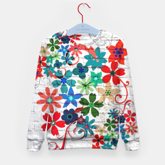 Miniaturka Colorful Flowers Painting on White Bricks Kid's Sweater, Live Heroes