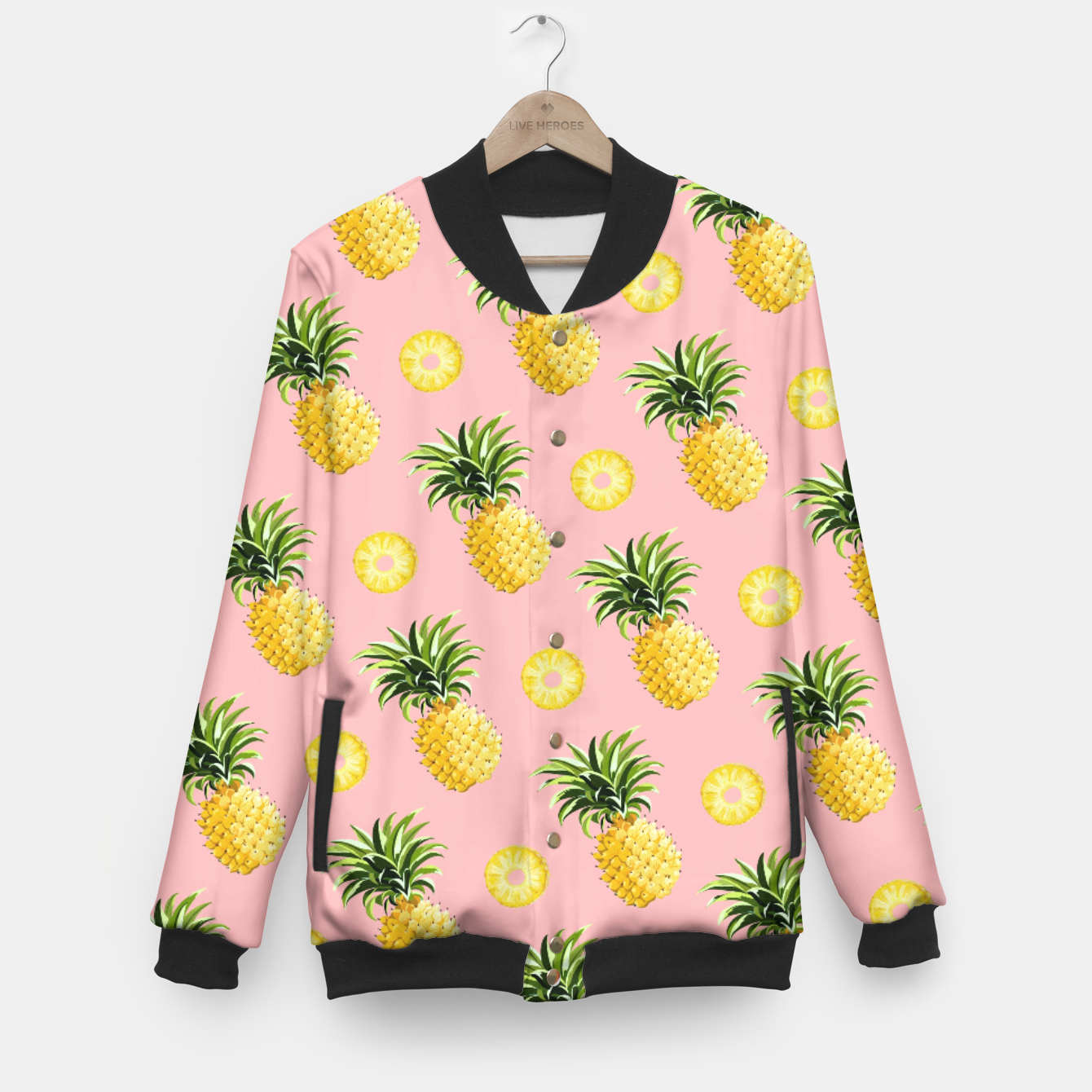 Image of Pineapple and pink Baseball Jacket - Live Heroes