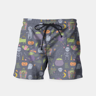 Thumbnail image of Happy Halloween. Funny cute witch, mummy, black cat, wolf, bat, spider, scull, pumpkin. Swim Shorts, Live Heroes