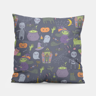 Thumbnail image of Happy Halloween. Funny cute witch, mummy, black cat, wolf, bat, spider, scull, pumpkin. Pillow, Live Heroes