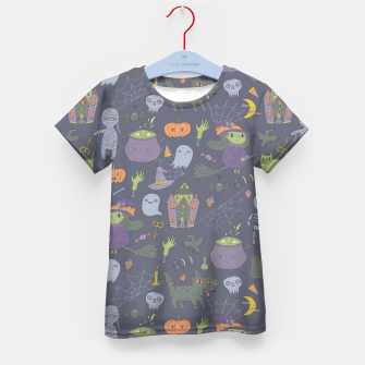 Thumbnail image of Happy Halloween. Funny cute witch, mummy, black cat, wolf, bat, spider, scull, pumpkin. Kid's T-shirt, Live Heroes