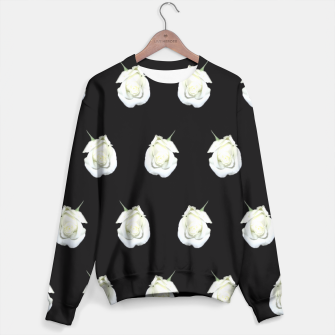 Thumbnail image of FLOWERS: White Rosebuds on Black Sweater, Live Heroes