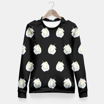 Thumbnail image of FLOWERS: White Rosebuds on Black Fitted Waist Sweater, Live Heroes
