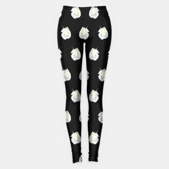 Miniatur FLOWERS: White Rosebuds on Black Leggings, Live Heroes