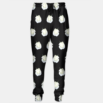 Miniatur FLOWERS: White Rosebuds on Black Sweatpants, Live Heroes
